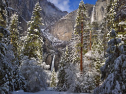 YOSEMITE FALLS WITH A FRESH BLANKET OF SNOW